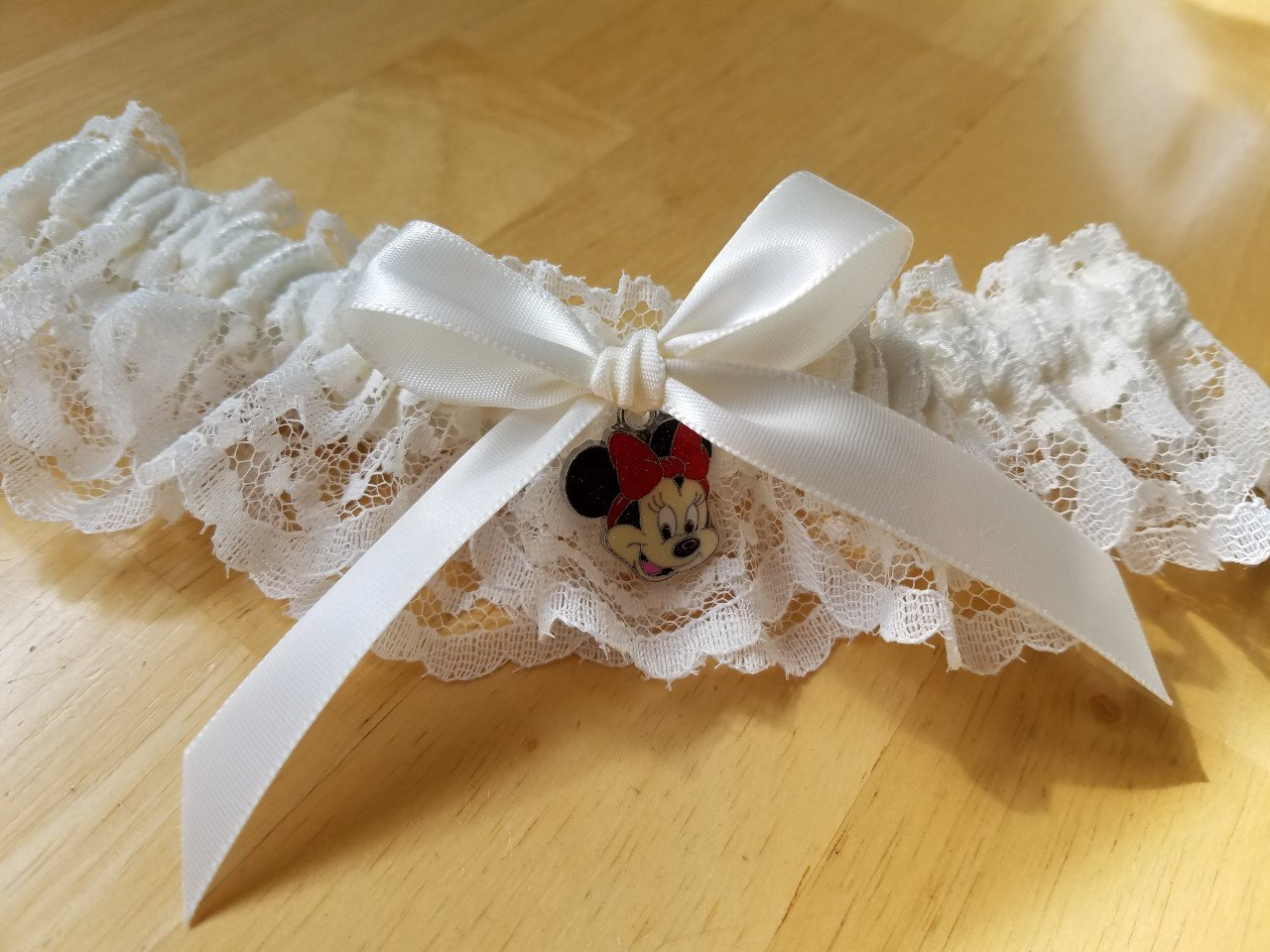 Minnie Mouse Charm Garter, Disney Inspired Garter, Disney Wedding Garter, Lace Wedding Garter