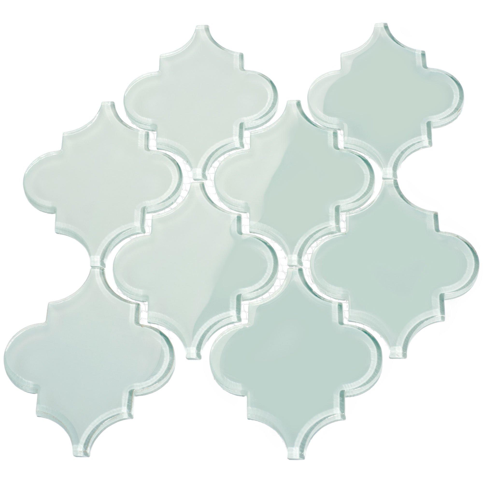 Giorbello G9133 Glass Arabesque Tile, Baby Blue