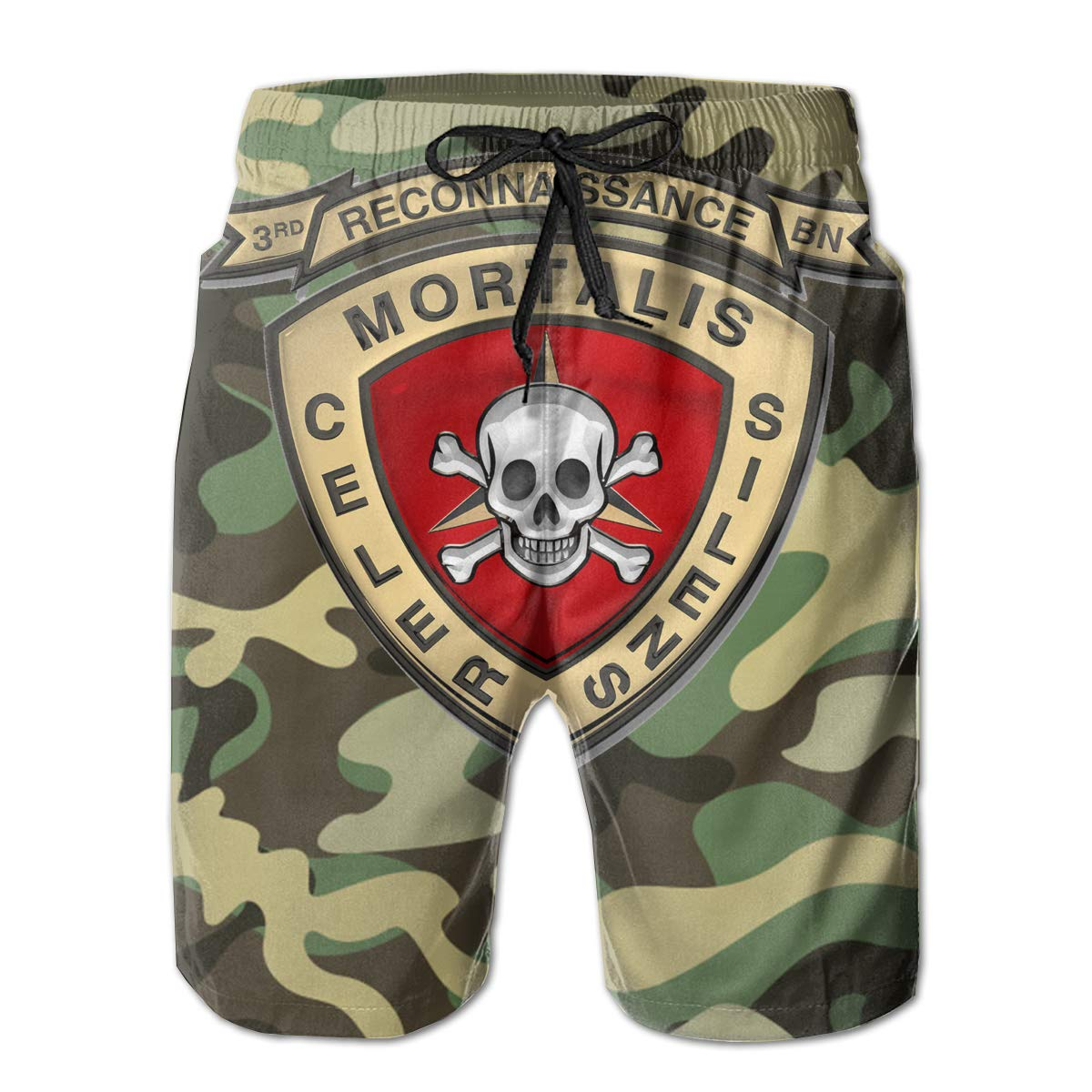 Hdecrr FFRE 3rd Reconnaissance Battalion Mens Summer Casual Board Shorts Quick Dry Board Shorts with Pockets