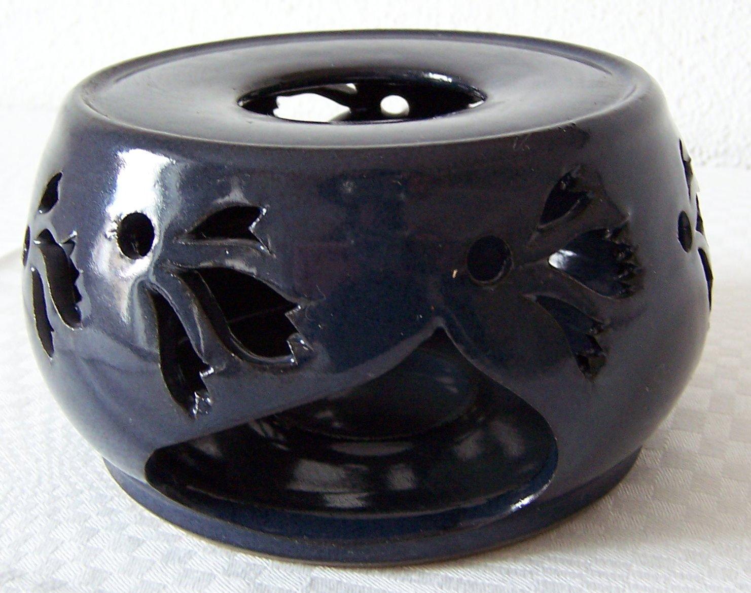 Töpferei Annett Fischer SV1 Stövchen blau Stövchen Keramik handgetöpfert Höhe 7 cm Durchmesser 11 cm