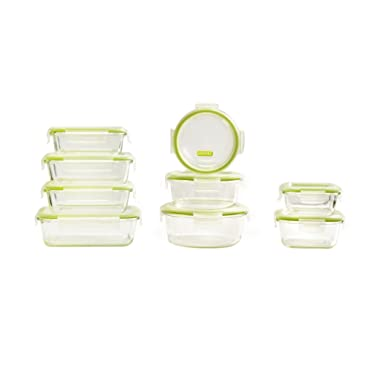 Keeperz 18-Piece BPA-Free Glass Food Storage Set with Airtight Lids