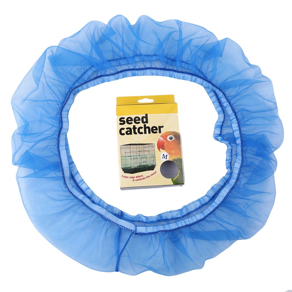 Meolin Bird Cage Skirt Bird Cage Seed Catcher Seeds Guard Parrot Mesh Net Cover Stretchy Shell Skirt Traps, M blue, 21.256.69inch