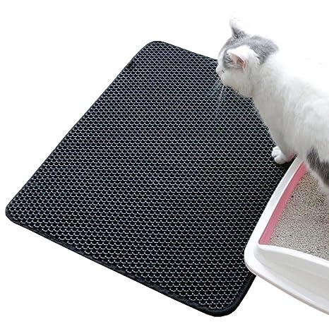 Cusfull Alfombrilla de Arena para Gatos,Colchoneta Impermeable con Diseño de Doble Capa,Goma