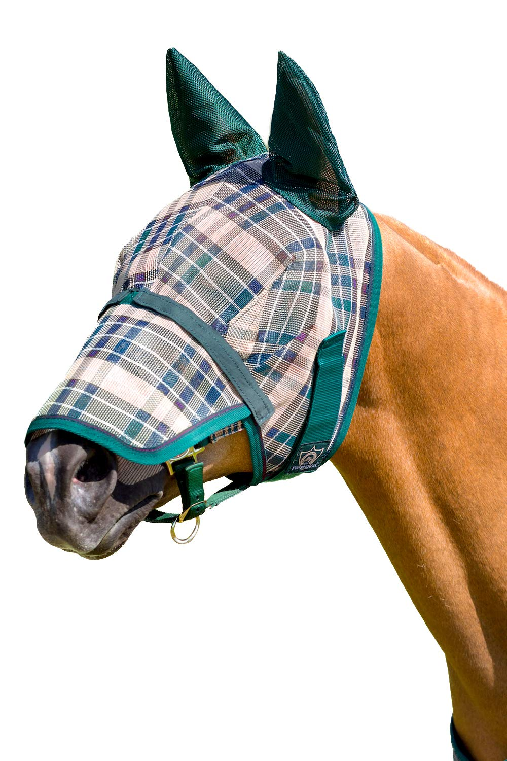 Kensington KPP Fly Mask with Nose Cover and Ears, Deluxe Hunter Plaid, Medium