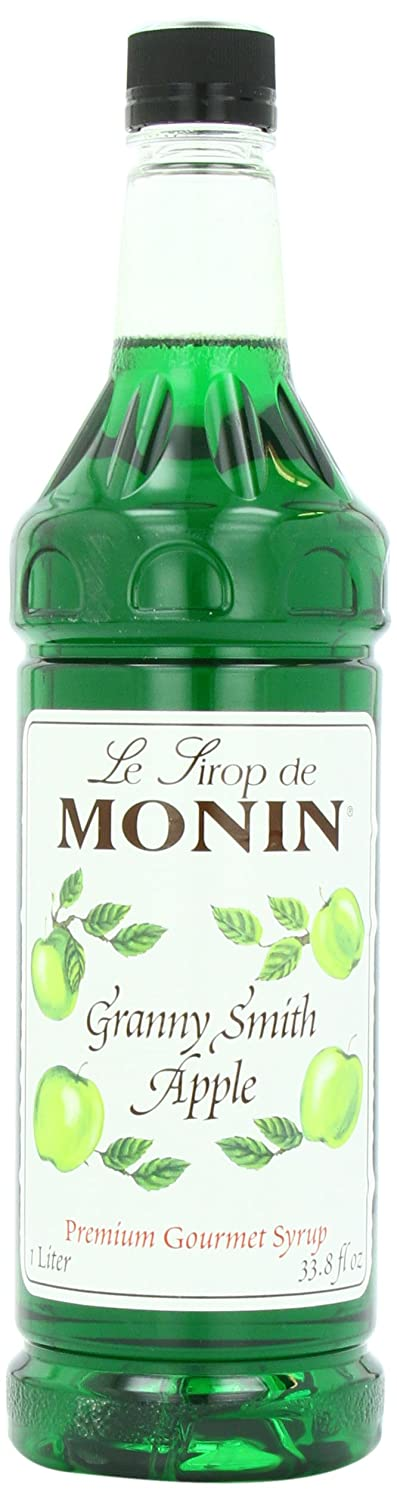 Monin Flavored Syrup, Granny Smith Apple, 33.8-Ounce Plastic Bottles (Pack of 4)