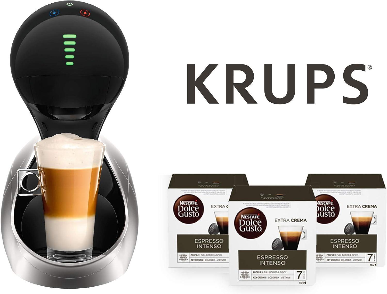 Krups Cafetera automática Movenza + 48 cápsulas Nescafé Dolce Gusto Espresso Intenso (3 x 16 cáp.) (Silver + 48 cápsulas Dolce Gusto Expresso Intenso): Amazon.es: Hogar