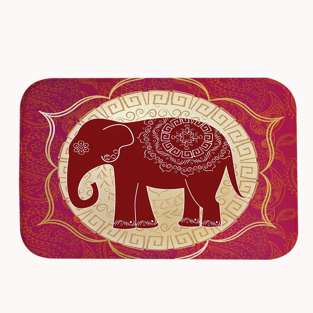 Yilooom Indian Ethnic Elephant Coral Fleece Bath Mat Area Rug Door Mat Entrance Rug Floor Mats for Front Outside Doors Entry Carpet 50 x 80 cm