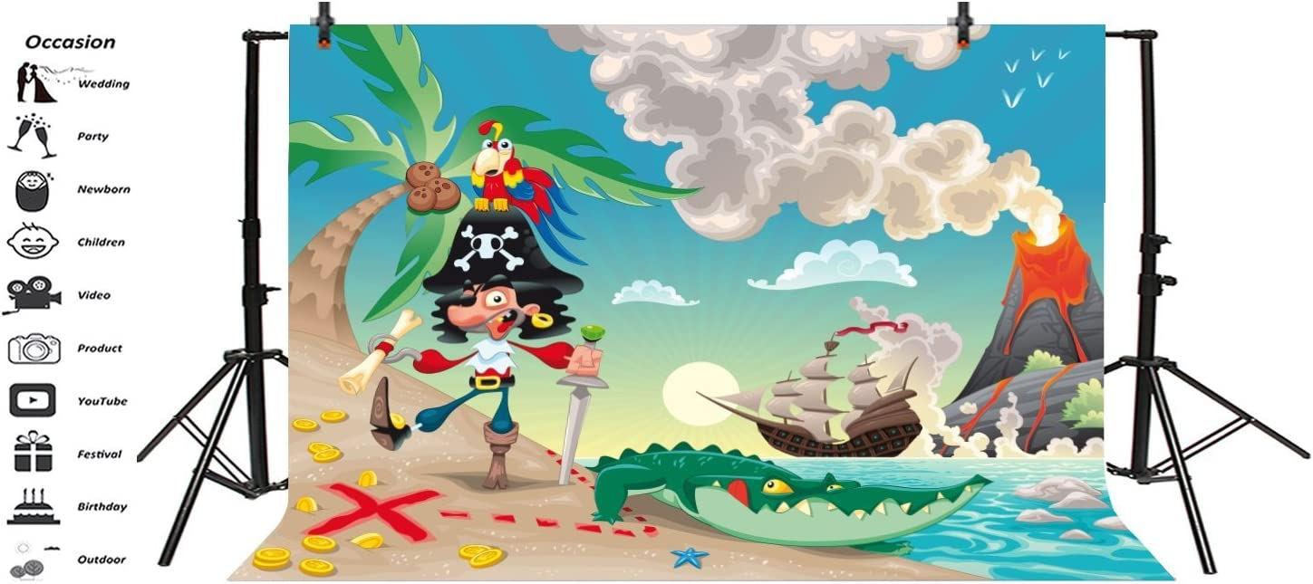 8x12 FT Pirates Vinyl Photography Background Backdrops,Pirates Crocodile Octopus Shark Crab Seagulls Parrot Bottle of Rum Cartoon Style Background for Selfie Birthday Party Pictures Photo Booth Shoot