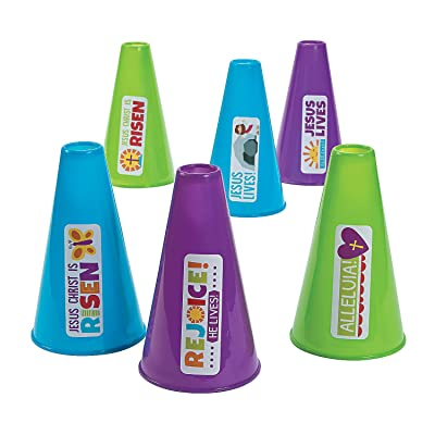 Fun Express - Rejoice Megaphones for Easter - Toys - Noisemakers - Spirit Noisemakers - Easter - 12 Pieces: Toys & Games
