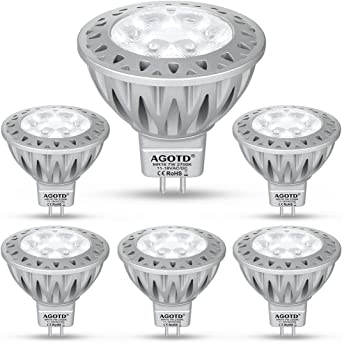 Agotd Gu5 3 Mr16 Led Lampe 12v Warmweiss 7w 50w Gu5 3 Halogenlampe Aquivalent 7 Watt Gu 5 3 Sockel Gluhlampen Kein Flimmern Hohe Kompatibilitat 2700k 50mm Durchmesser Aluminium 560lm 6er Pack Amazon De Beleuchtung