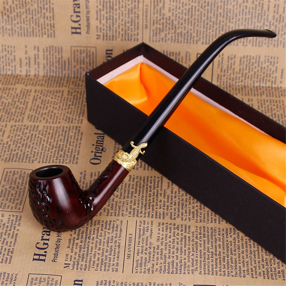 Tubo di tabacco in legno classico fatto a mano fatto a mano classico pipa per tabacco Acrilico titolare di sigaretta, lungo ugello, tubo in resina,un SJMM