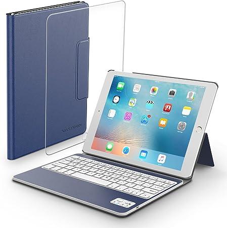 iPad Carcasa-Carcasa-teclado con teclado bluetooth extraíble y protector de pantalla de cristal templado, Vastdon carcasa ligera con stand y luz para ...