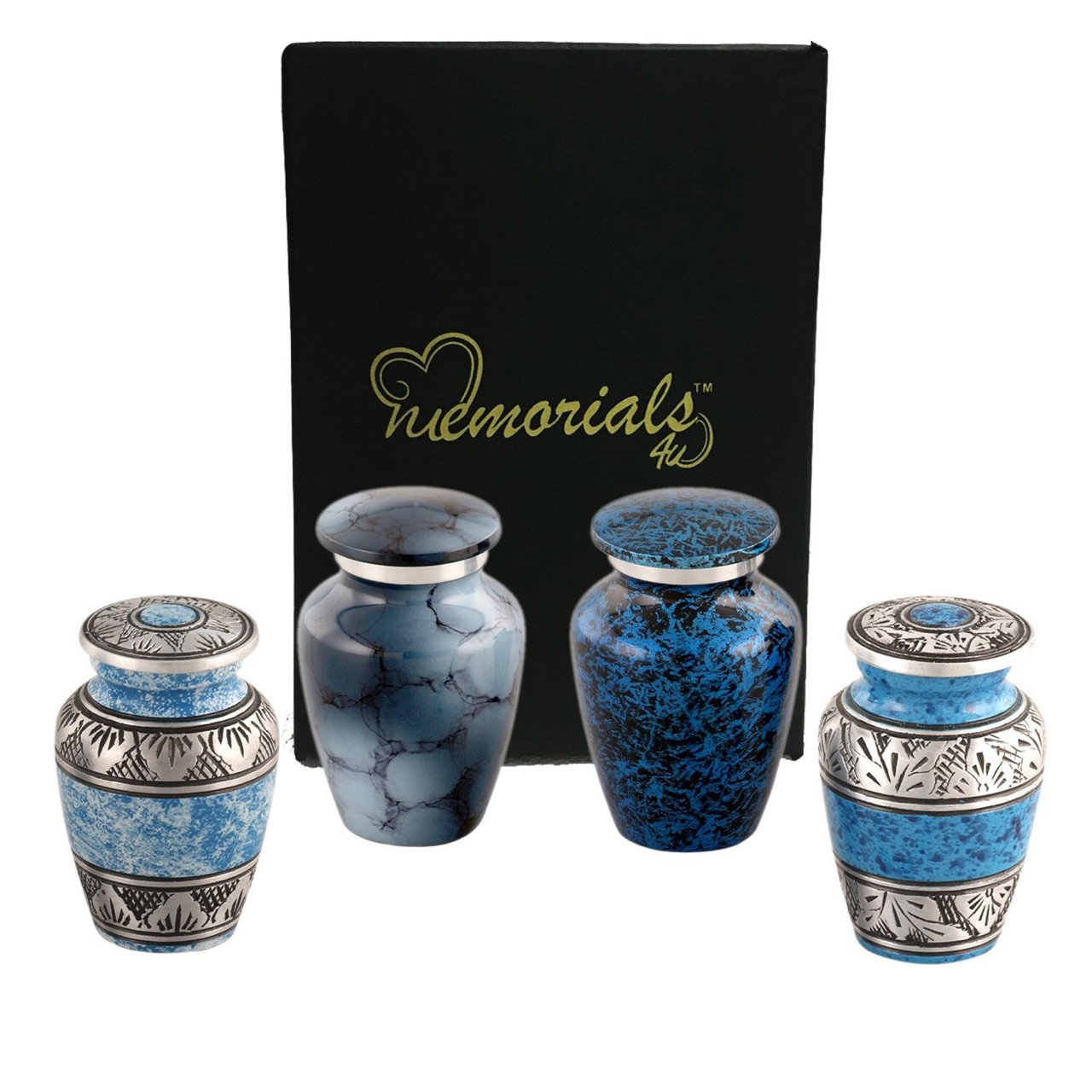 Forever in our Hearts Classic Blue Keepsake Urns Set of 4 - Beautiful Shades of Blue Mini Keepsakes - Keepsake Urns - Blue Token Urns - Handcrafted and Affordable Mini Urns for Ashes - Best Deal