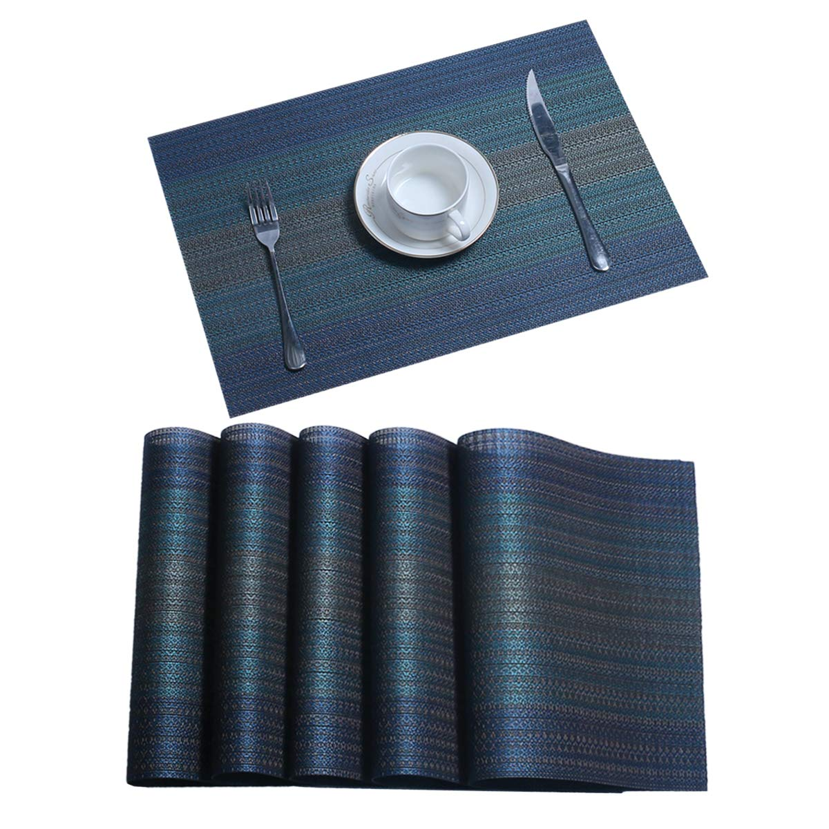 Pauwer Placemats Set of 8 for Dining Table Woven Vinyl Kitchen Place Mat Heat Insulation Non-Slip Table Mats Easy to Clean