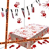 Lulu Home Halloween Bloody Party Decorations, Scary Party Favors 5 Piece Bloody Table Cover, Weapon Garland, Handprints…