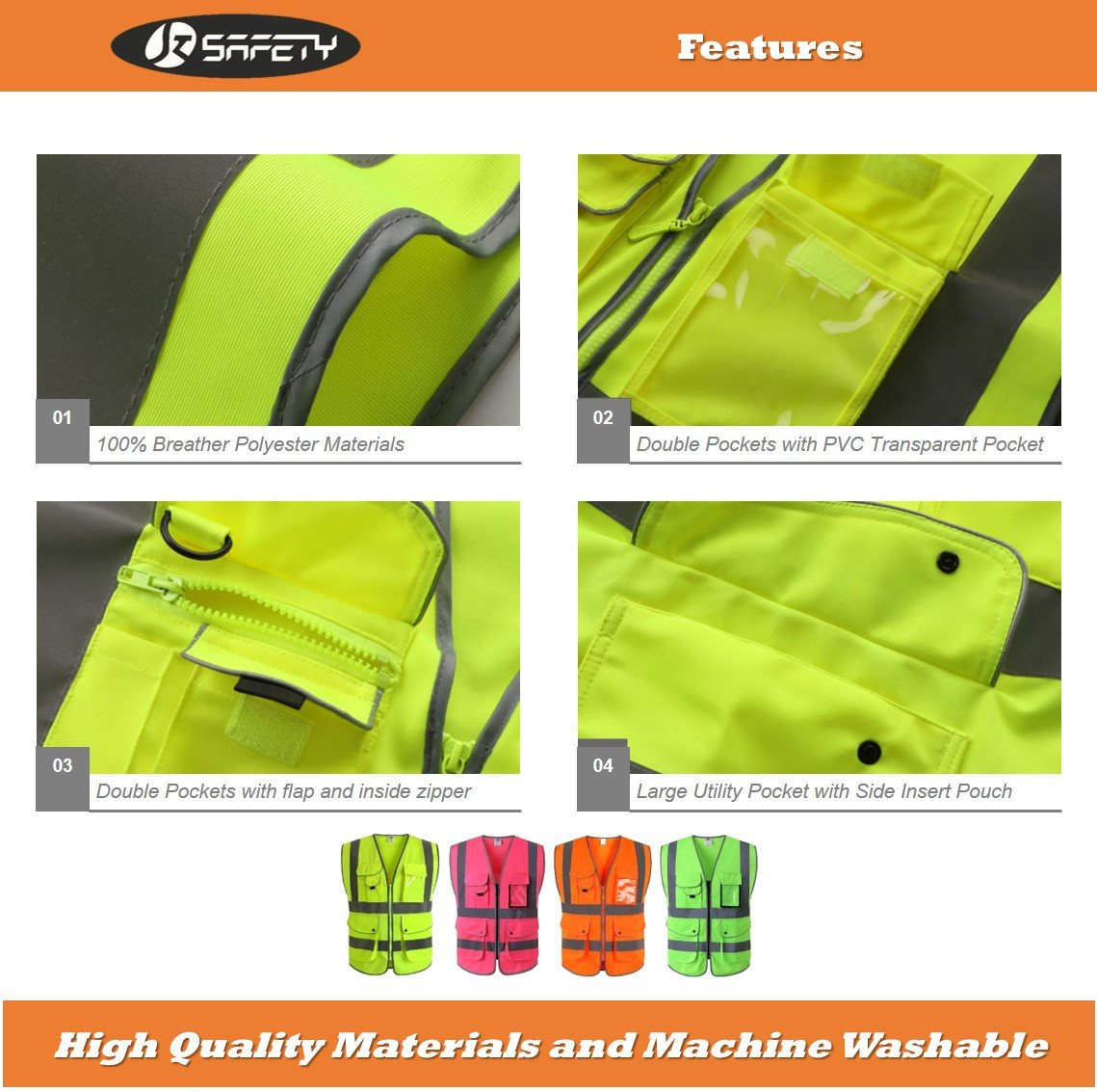 JKSafety 9 Pockets Class 2 High Visibility Zipper Front Safety Vest With Reflective Strips, Meets ANSI/ISEA Standards (Medium, Pink) by JKSafety (Image #4)