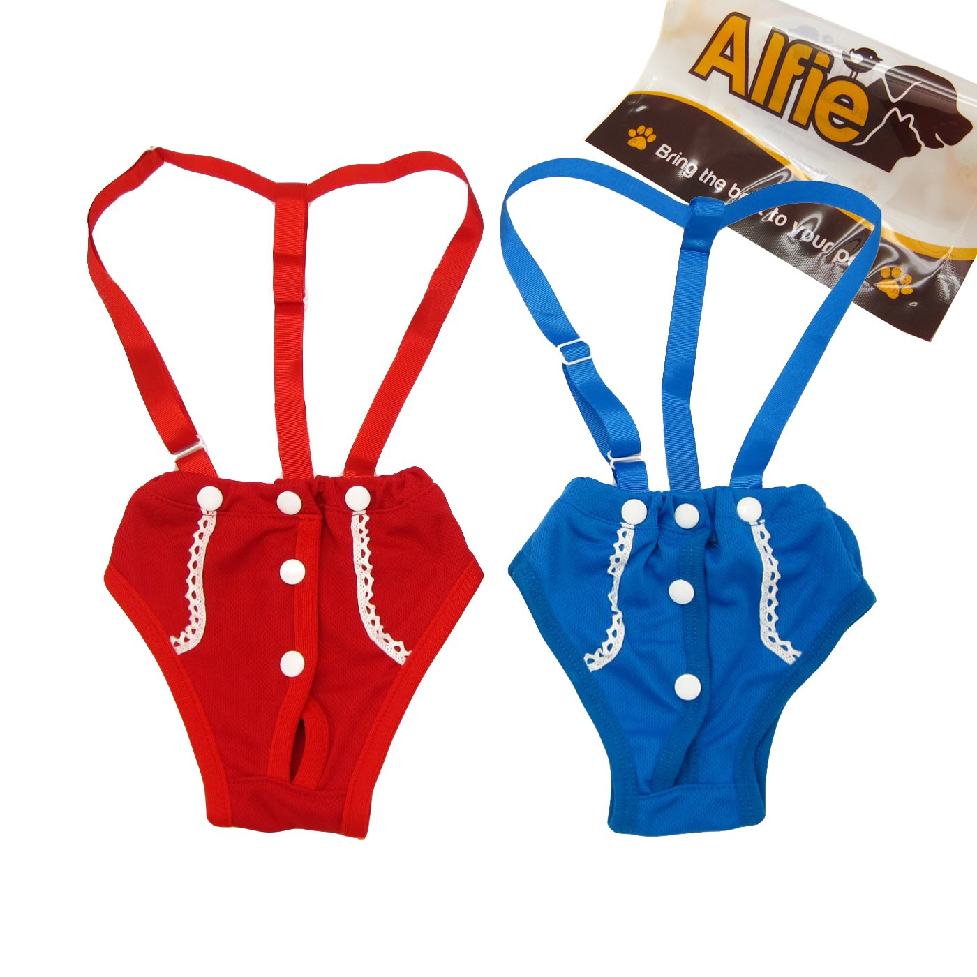 Alfie Pet by Petoga Couture - Jay Diaper Dog Sanitary Pantie with Suspender Set - Size: S (for Girl Dogs)