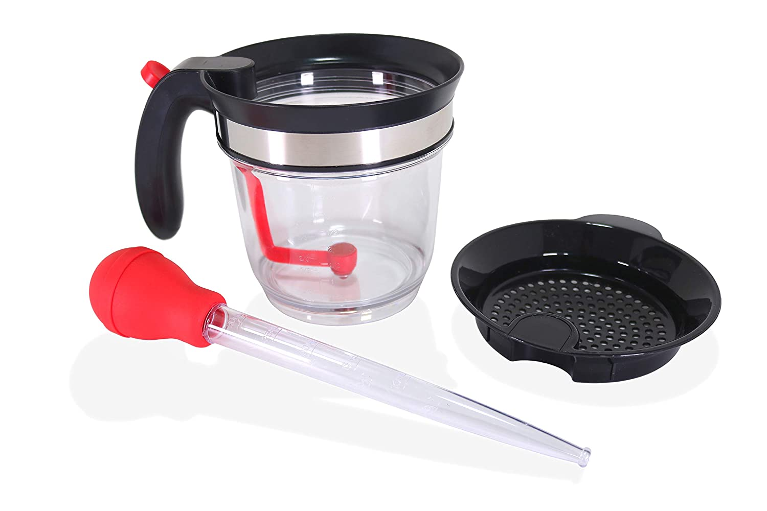 Wecker 4 Cup Fat and Gravy Separator Strainer Measuring 1 Liter with Bottom Release Dispense Button Complete with Turkey Baster