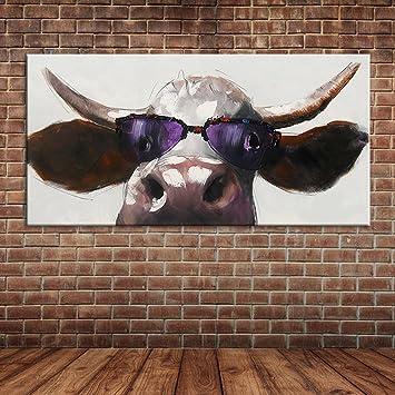 IPLST@ Lustige Kühle Kuh Mit Sonnenbrille Ölgemälde, Moderne  Tiersegeltuch Kunst Wand