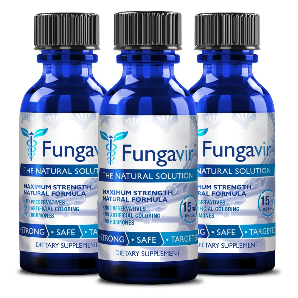Fungavir - Anti-fungal Nail Treatment, Effective against nail fungus - Toenails & Fingernails Anti-fungal Nail Solution - Stops and Prevents Nail Fungus (3 bottles)