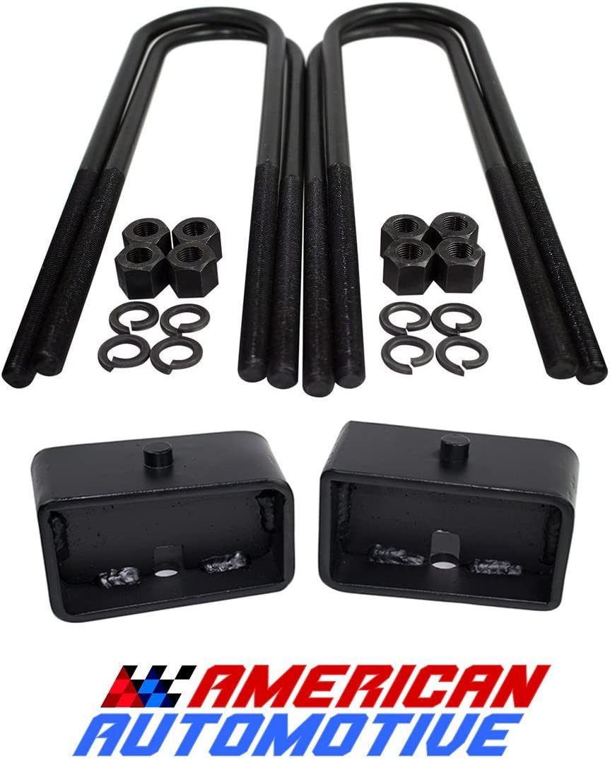 American Automotive 1999-2020 F250 F350 SuperDuty 2WD 4WD and 2000-2005 Excursion Rear Lift Blocks Kit /& U Bolt Kit 1 Blocks