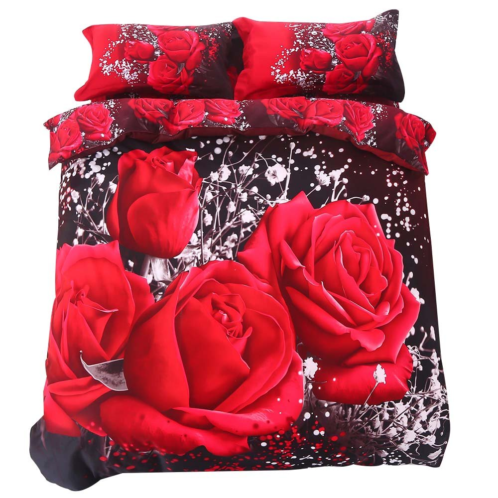 Alicemall 3D Rose Bedding Big Red Rose Black Prints 6 Pieces Floral Bedding Sets, 100% Cotton Wedding 6 PCS Duvet Cover Set, California King Size(Cal King, 6 pcs) by Alicemall