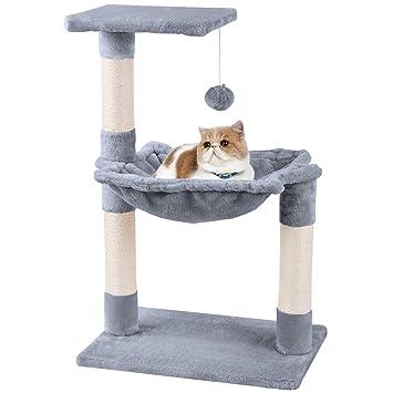 MC Star Árbol para Gato con Rascador Cama Bolas de Juego Arañazo Plataforma Sisal Natural 70cm, Gris: Amazon.es: Productos para mascotas