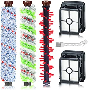 SELECTOP 1785A 2306A Replacements 1 Pack Pet & Multi-Surface & Area Rug Brush Roll and 2 Pack 1866 Vacuum Filter for Bissell CrossWave Wet Dry Vacuum Cleaner 1785 2306 2551 Series