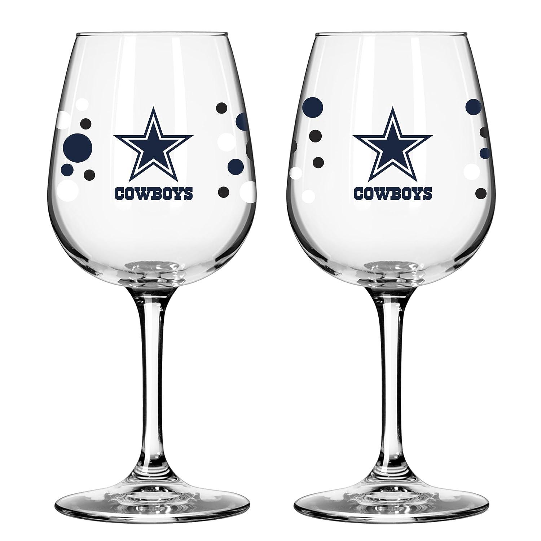Amazon.com | Dallas Cowboy PolkaDot Wine Glass 12 oz. 2 Pack: Wine ...