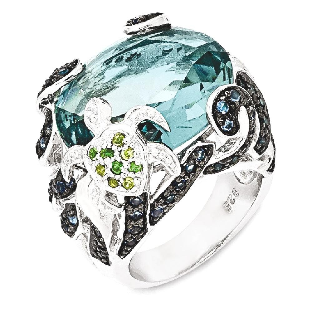 ICE CARATS 925 Sterling Silver Cubic Zirconia Cz Glass Simulated Blue Topaz Turtle Band Ring Size 6.00 Sea Shell Life Fine Jewelry Gift Set For Women Heart
