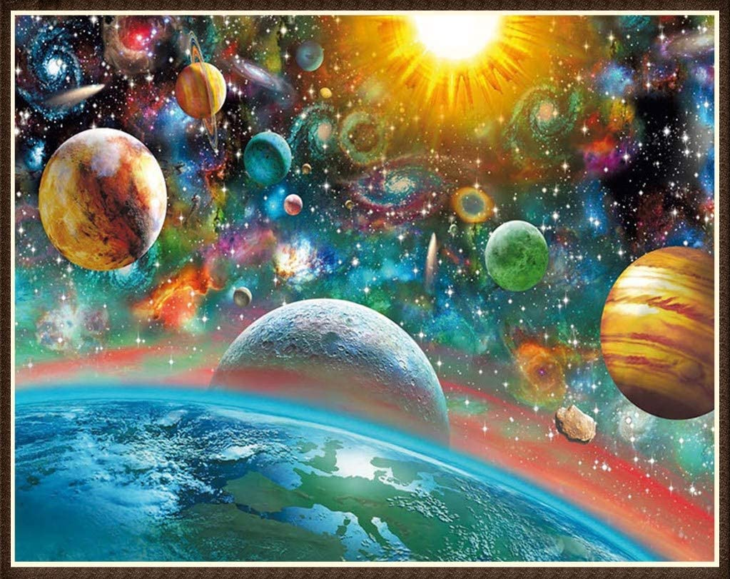 FEUON 5D Outer Space DIY Diamond Painting Stickers Kits for Kids and Adult Beginners