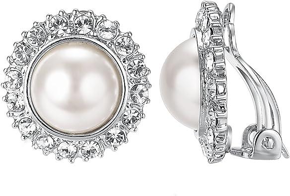 Yoursfs Perle de culture Boucles doreilles Clip Femme Plaqu/é or Rose//Platine oreilles non perc/ées Bijoux de mariage