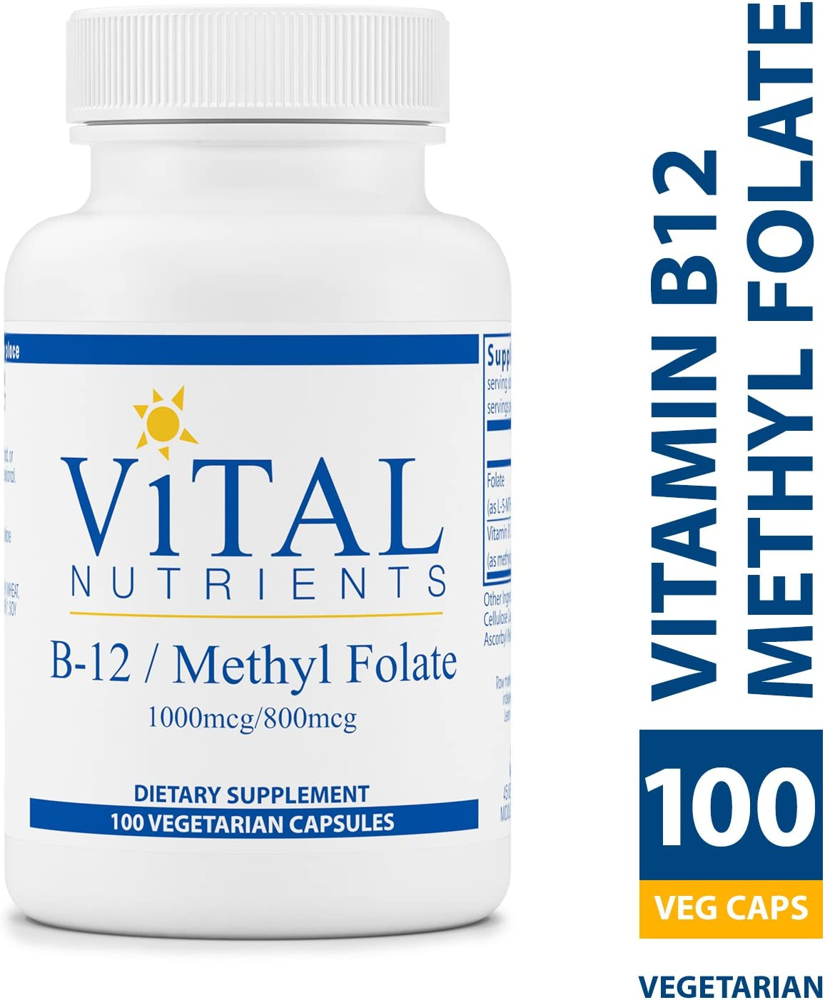 Vital Nutrients – Vitamin B12 Methyl Folate – Supports Healthy Brain Cell Function – 100 Capsules per Bottle