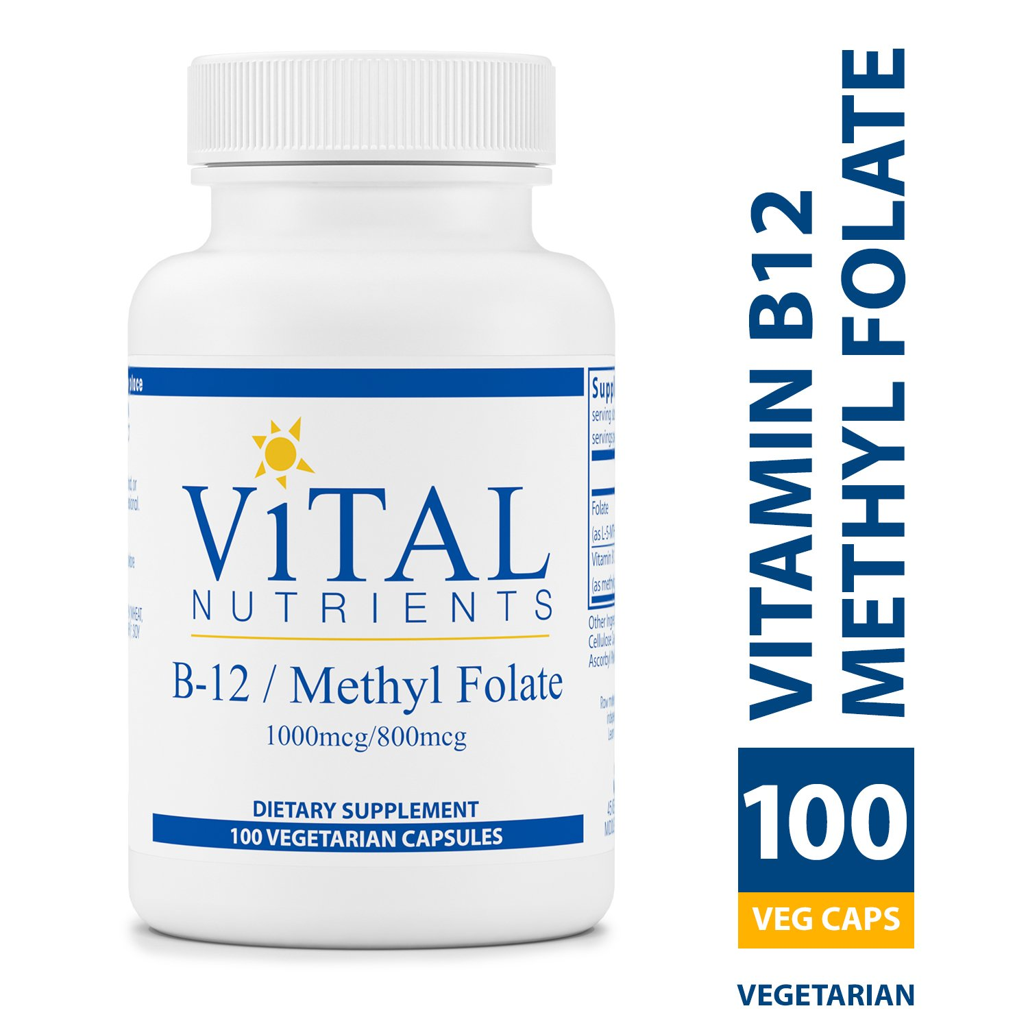 Vital Nutrients - Vitamin B12 / Methyl Folate - Supports Healthy Brain Cell Function - 100 Capsules per Bottle by Vital Nutrients