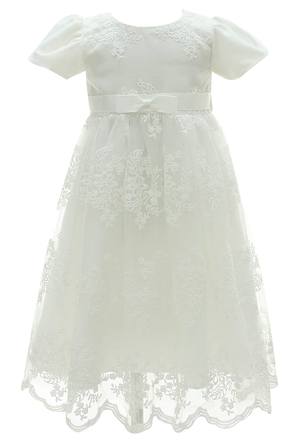 Happy Cherry Baby Girls White Cotton Christening Baptism Gown with Lace Short Sleeve Size 6M - White