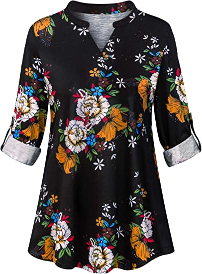 PLUS SIZE CURVE ROUND NECK FLORAL ROSE PRINT 3//4 LONG SLEEVE TUNIC TOP