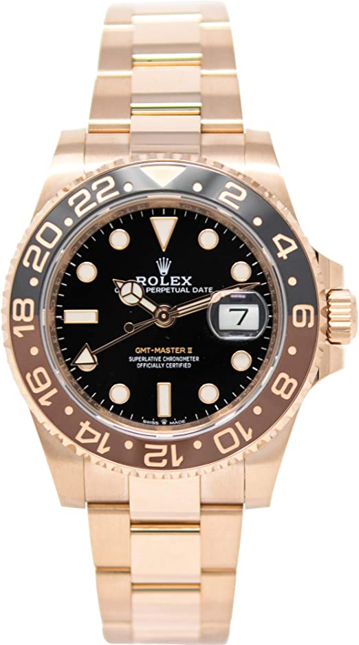 Amazon Com Rolex Gmt Master Ii 126715 18k Rose Gold Watch Black Dial Black And Brown Rotatable Bezel Unworn Watches