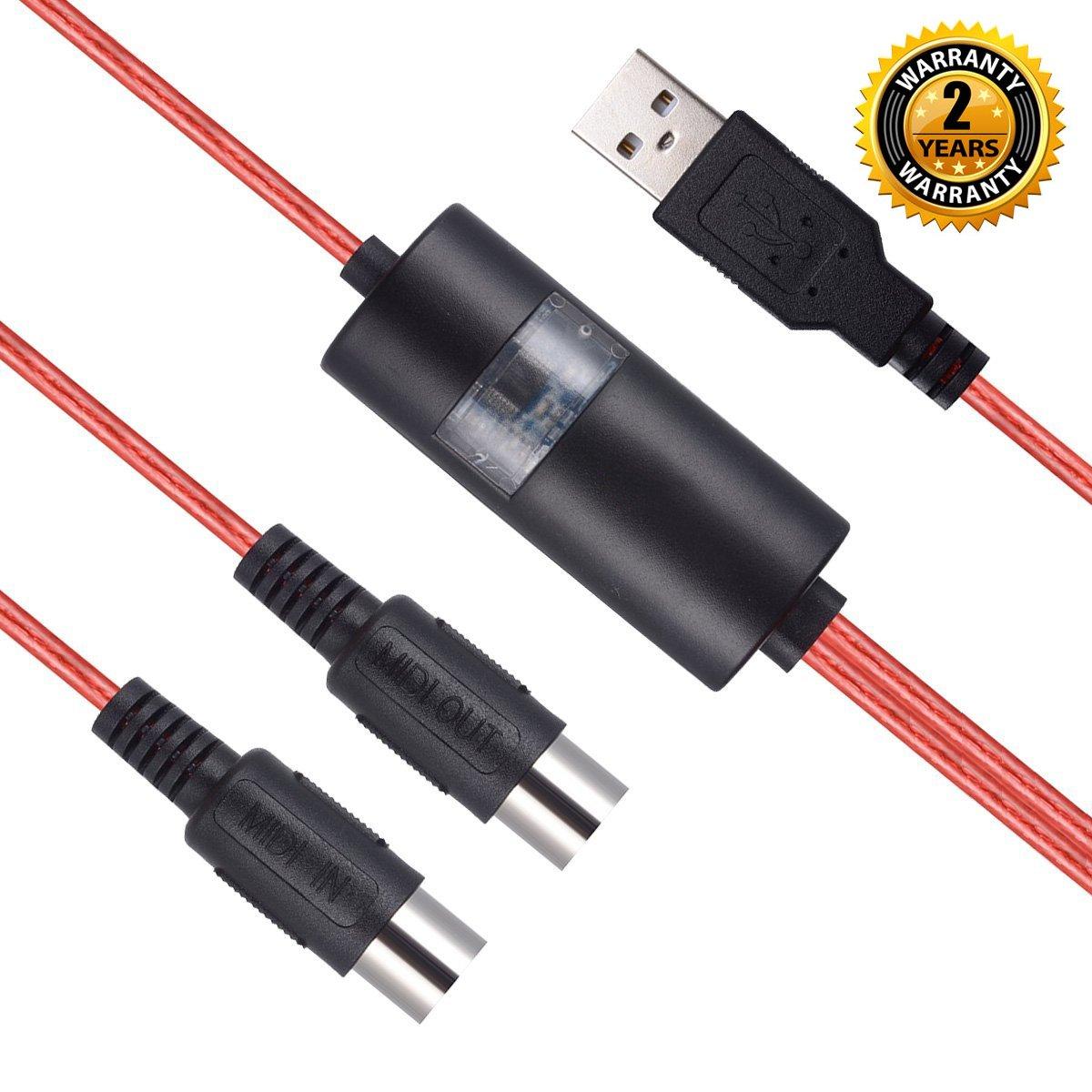 Interfaz de cable USB MIDI, OIBTECH, actualización profesional MIDI a USB IN-Out, convertidor de cable para PC/Mac/Laptop 2M (6,5FT), MIDI CABLE RED: ...