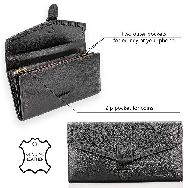 1098538d3f71a4 bluzelle Echt-Leder Geldbörse mit Stil - Hochwertiges Portemonnaie Groß mit  vielen Kartenhaltern - Klassisches Design für jeden Anlass, Farbe:Braun: ...