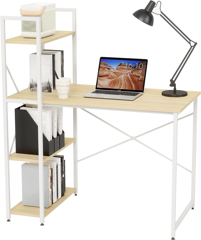 Bestier Computer Desk with Bookshelf 40.5 Inch Student Desk with Storage Shelves Bedroom Modern Desk Study Table Small Corner Desk with Storage Easy Assemble P2 Wood (Light Oak, 40.5 Inch)