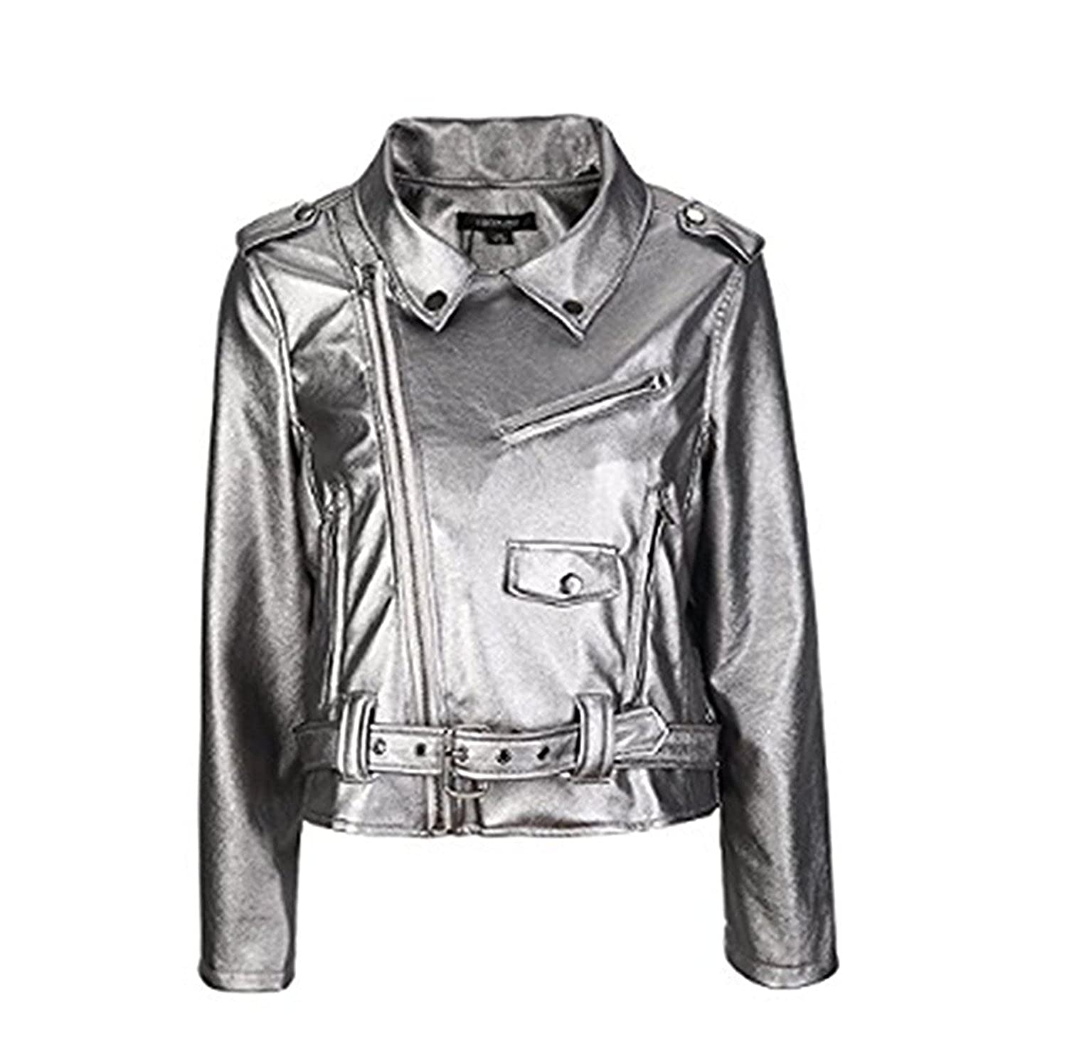 Sonder Fashion Womens Slim Zipper Motorcycle Biker Faux Leather PU Jacket Crop Coat at Amazon Womens Coats Shop