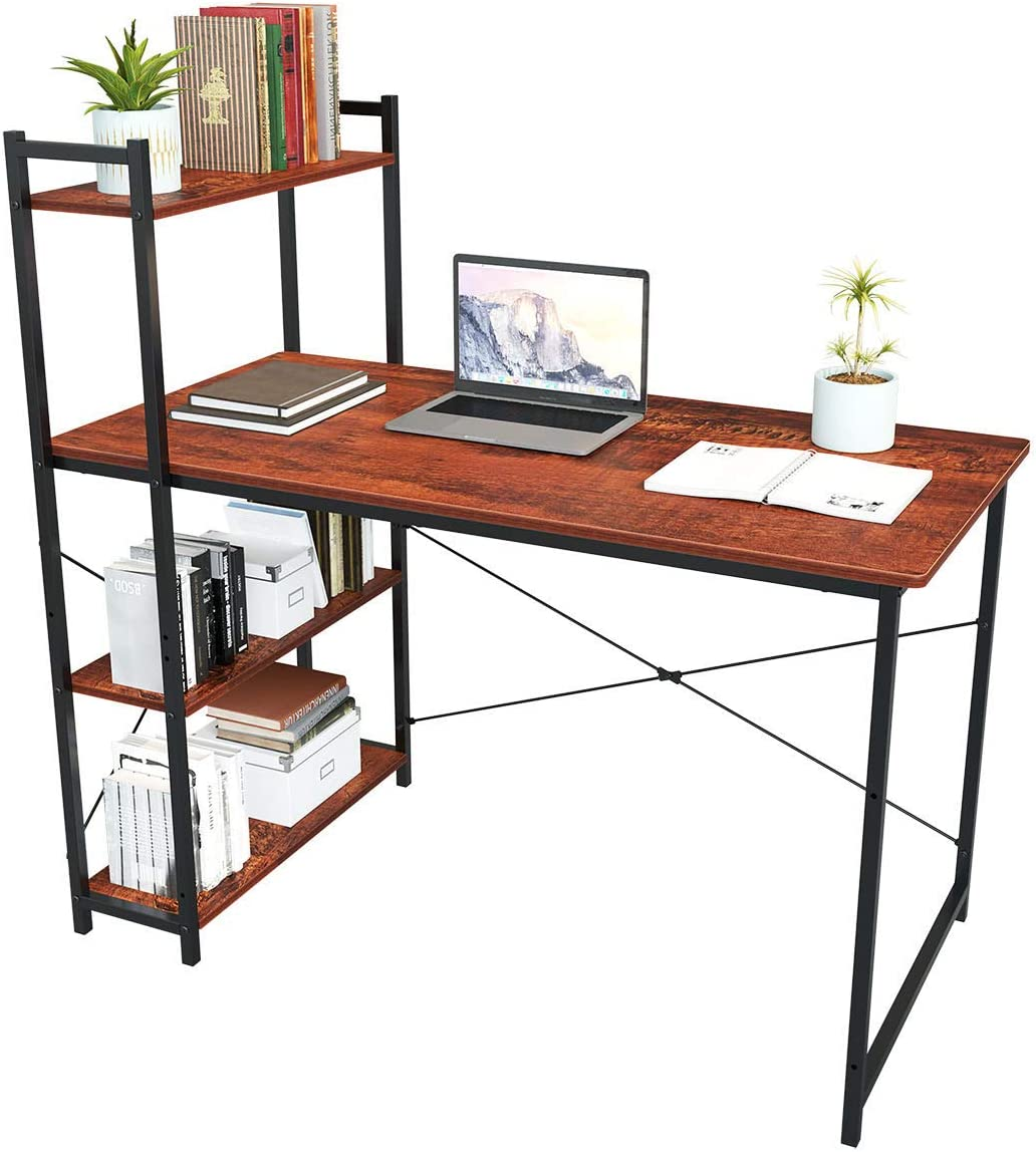 """47"""" Home Office Desk with 4 Storage Bookshelves, Large Sturdy Table, Modern Computer Gaming Desk, Home Office Workstation, Writing Study Table (47"""", Sandalwood)"""
