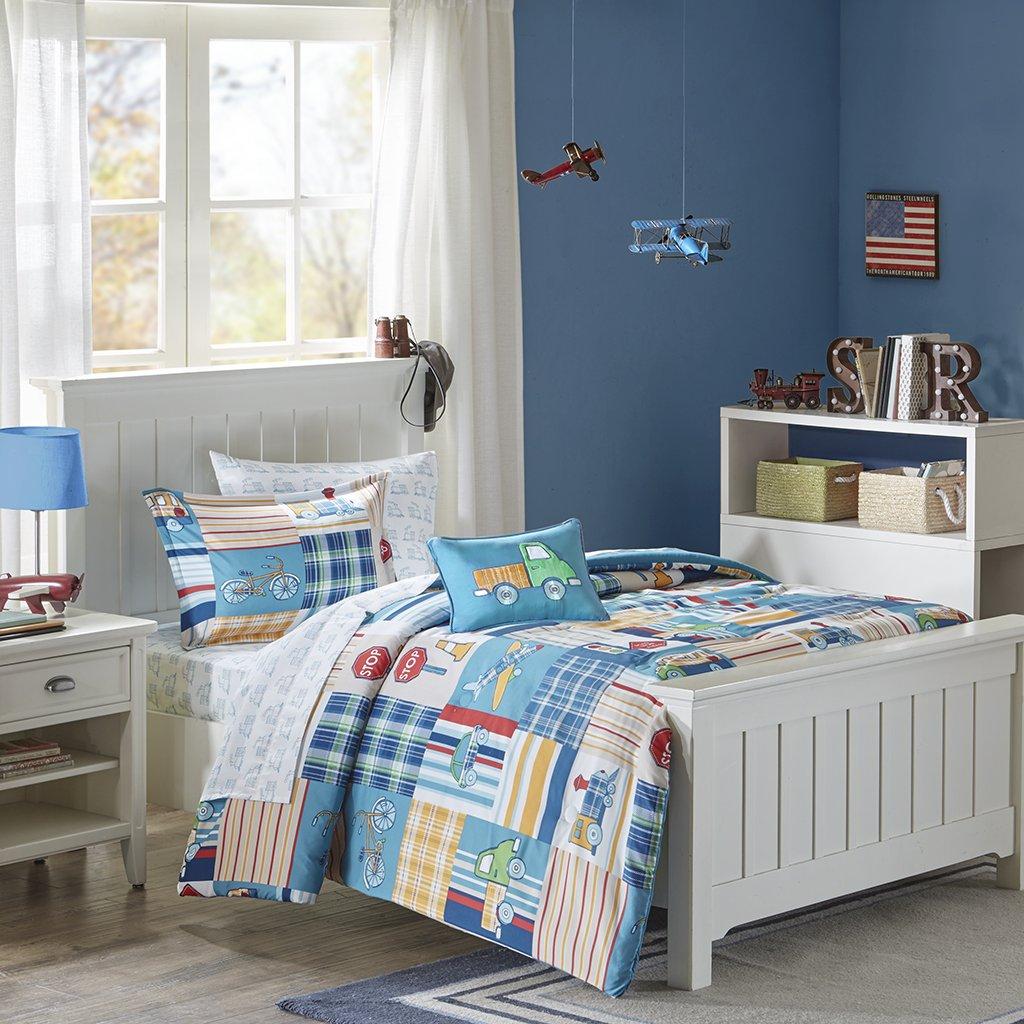Mi Zone Kids Choo Choo Charlie Full Kids Bedding Sets Boys - Blue, Parchwork Trains, Plane, Plaid – 8 Pieces Boy Comforter Set – Ultra Soft Microfiber Kid Childrens Bedroom Comforters MZK10-119