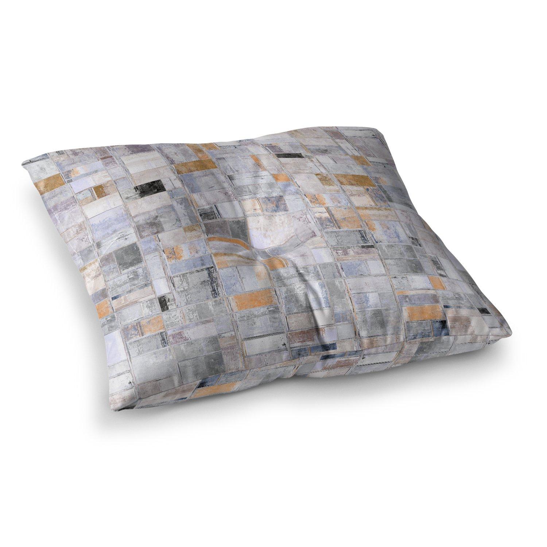 23 x 23 Square Floor Pillow KESS InHouse Susan Sanders Tan Tile Gray Beige Photography