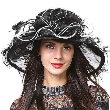 a2585863eb4 Lady Ascot Church Hat Wide Brim Floral Bridal Wedding Dress Party Hat S056 ( Black)