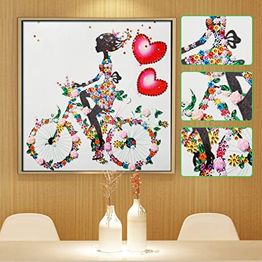 Cycling Girl 5D Special Shaped Diamond Painting Embroidery Cross Stitch DIY