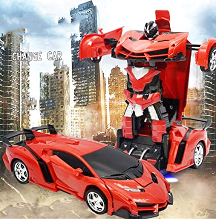 BonZeaL 2 In 1 RC Red Deformation Robot Car Toy Birthday Gifts For Boys 6 7