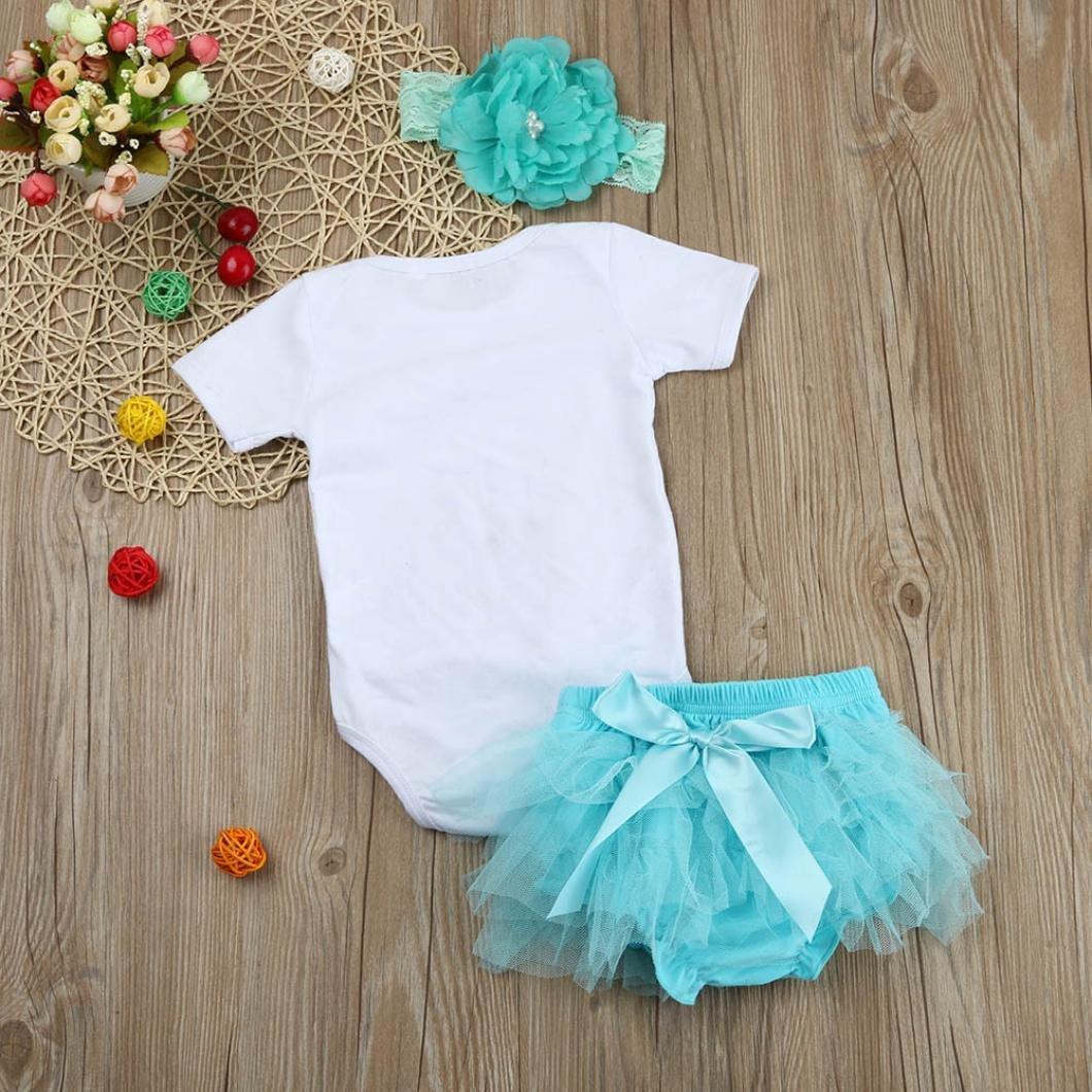 Fineser 3pcs Infant Baby Girl Dreamer Letter Print Short Sleeve Rompers+Tutu Skirt+Headband Outfits Set