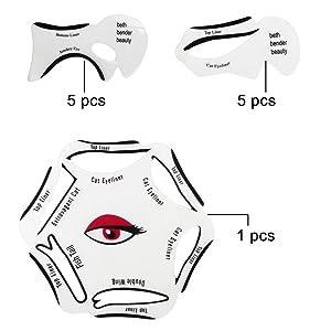 almondcy 10pcs ojo de gato, Smokey Ojo Maquillaje delineador de ojos delineador de ojos diseño de 2 lados uso y una tarjeta + 1pcs 6 en 1 Eyeliner Plantilla Plantilla de Eye Herramientas Cejas Plantillas Kits