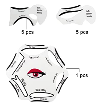 Almondcy 10pcs Cat Eye,Smokey Eye Makeup Eyeliner Stencil 2 Sides Repeatable Use Eye Liner